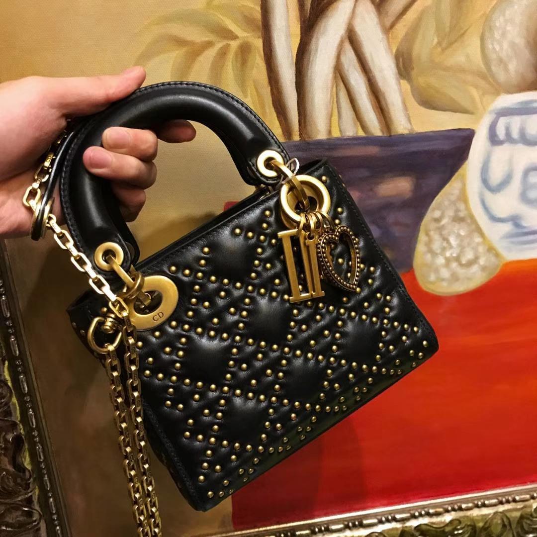 Dior mini铆钉包 整包1000颗钉手工打制 黑色 经典款 明星同款