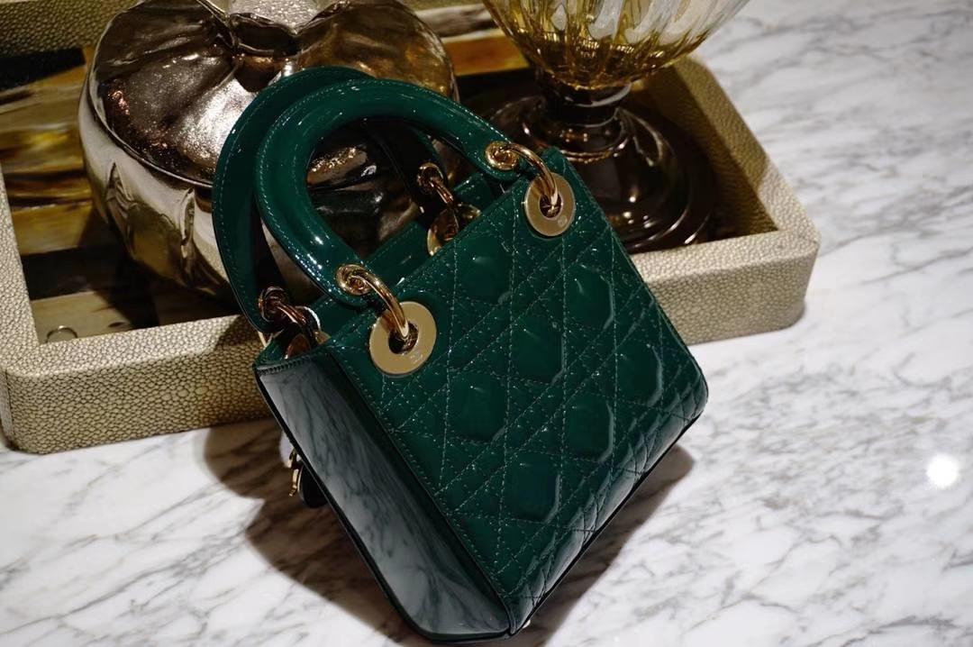 Dior 迪奥 三格16cm漆皮墨绿 戴妃包 单肩手提斜挎 金扣