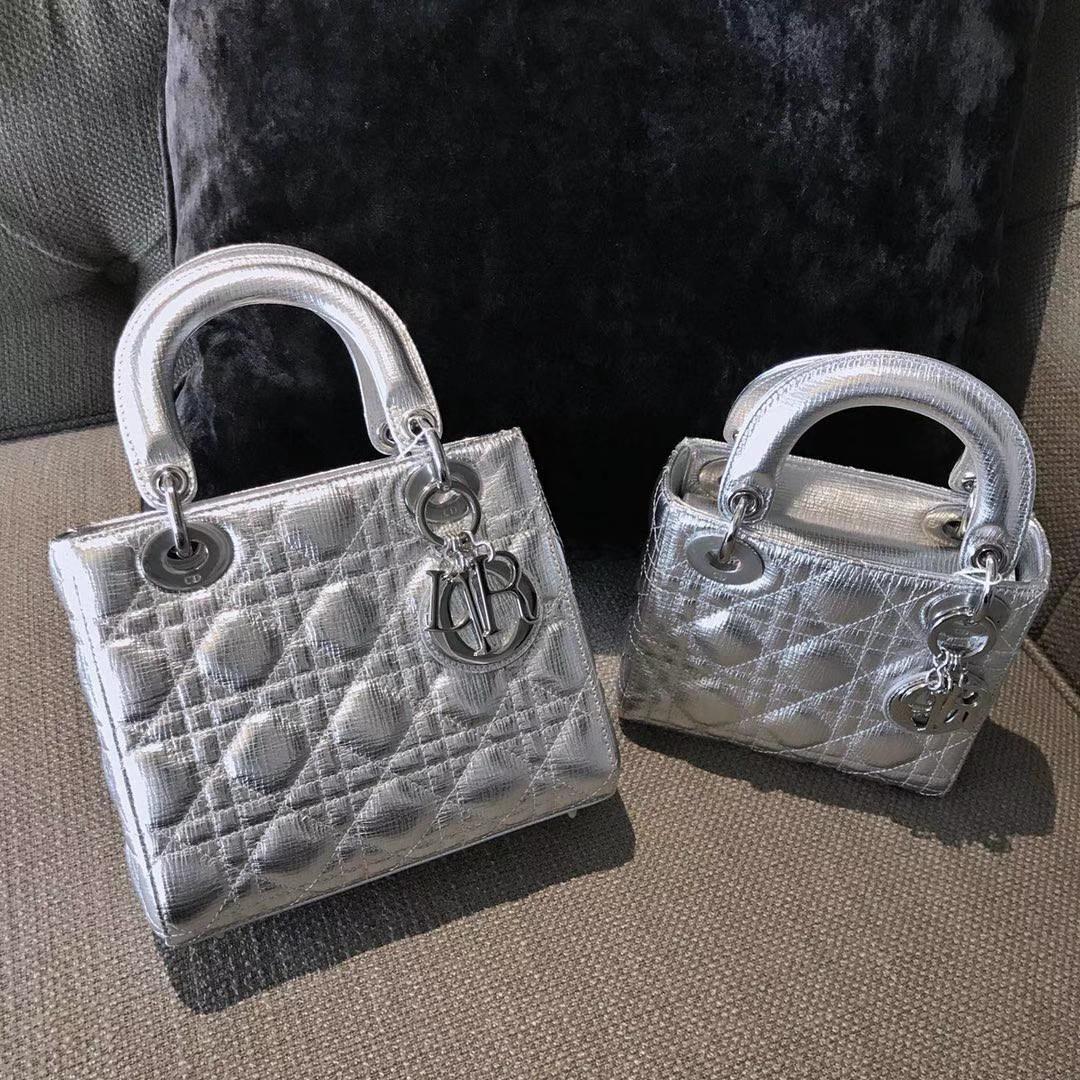 Dior 迪奥 mini 戴妃包 三格 金属银 大小号 代购品质