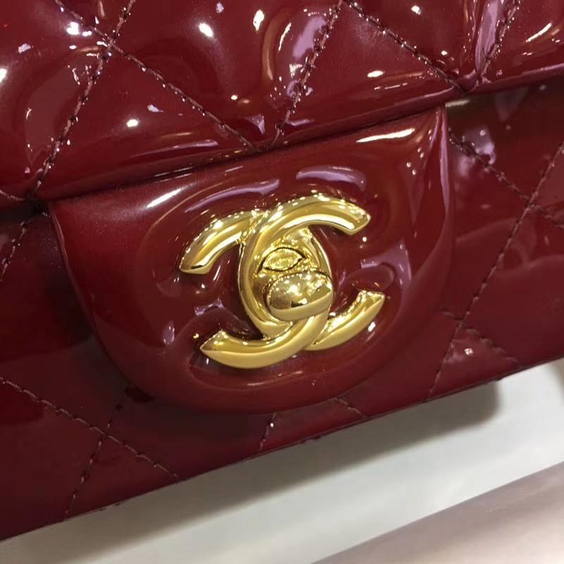Chanel 香奈儿 Chanel Classic Flap 漆皮 17cm 酒红 金 现货