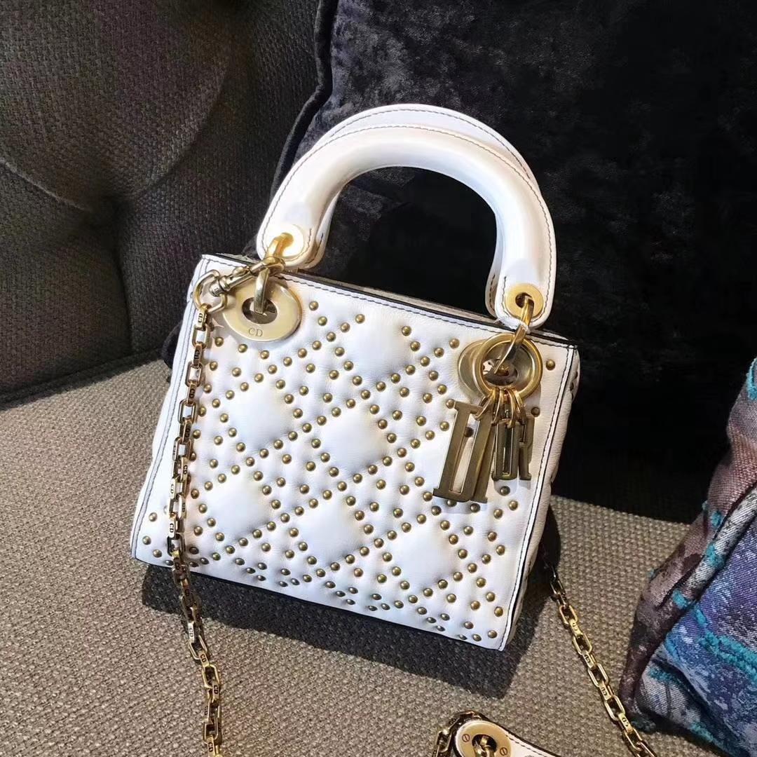 Dior 迪奥 三格戴妃包 Lady Dior牛皮铆钉包 心形五金扣款白色