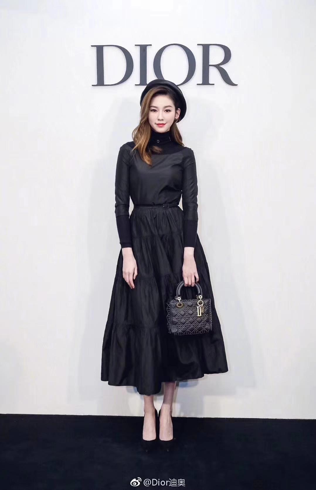 Dior 迪奥 三格 17cm 黑色复古风牛皮铆钉包