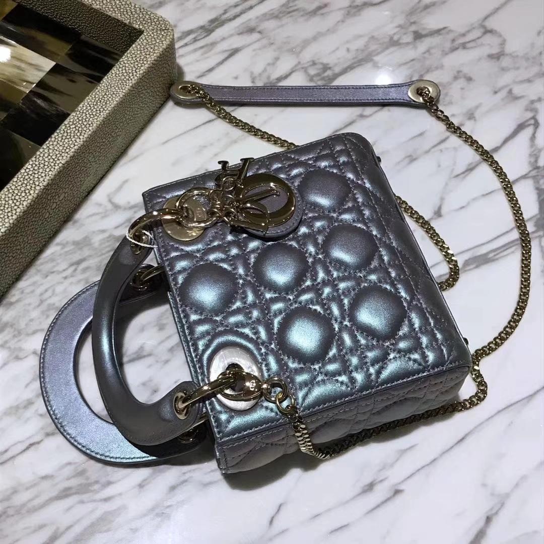 Dior 迪奥戴妃包 Lady Dior mini 羊皮幻彩色
