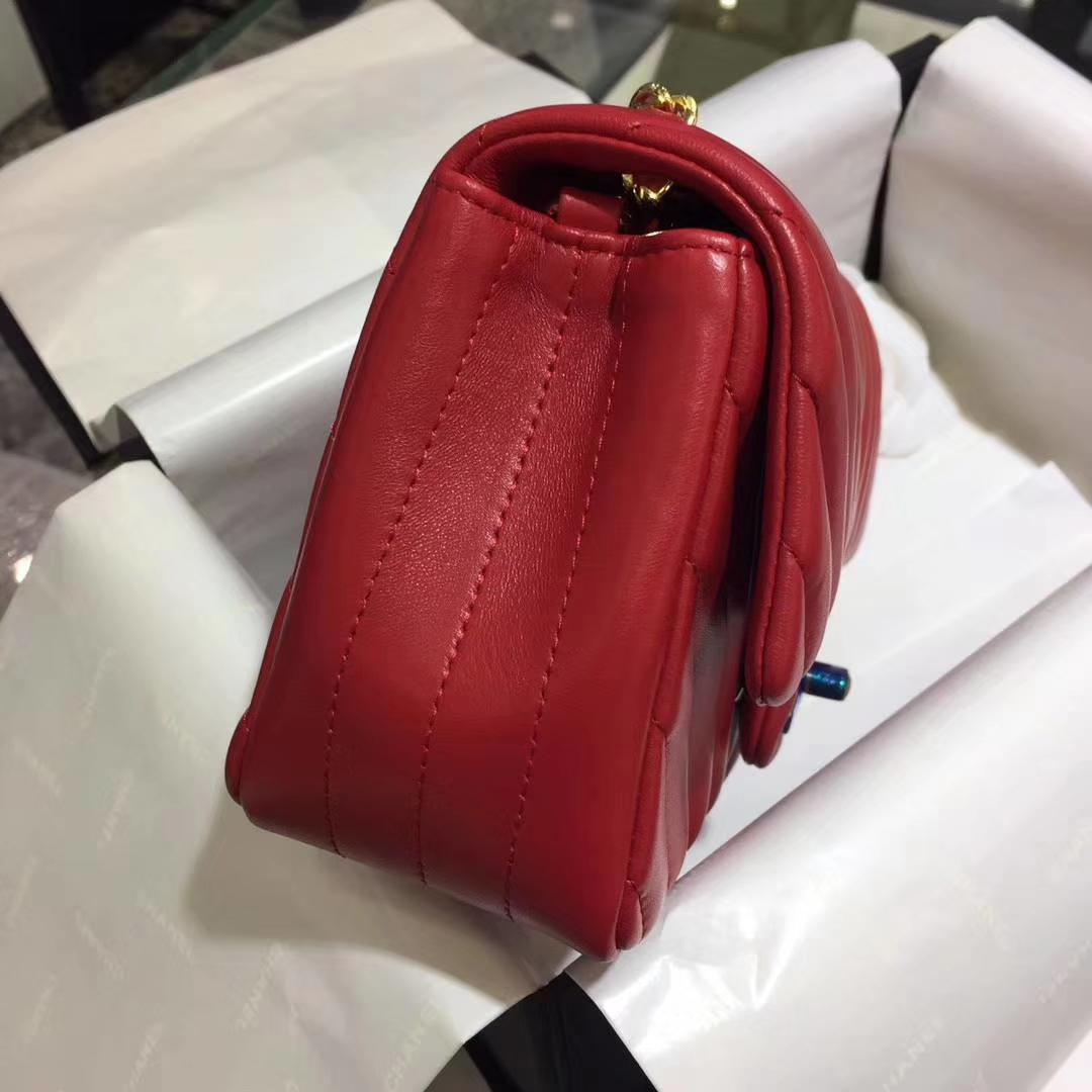 Chanel 香奈儿 V字绣 经典系列 羊皮 大红 20cm 金扣 现货
