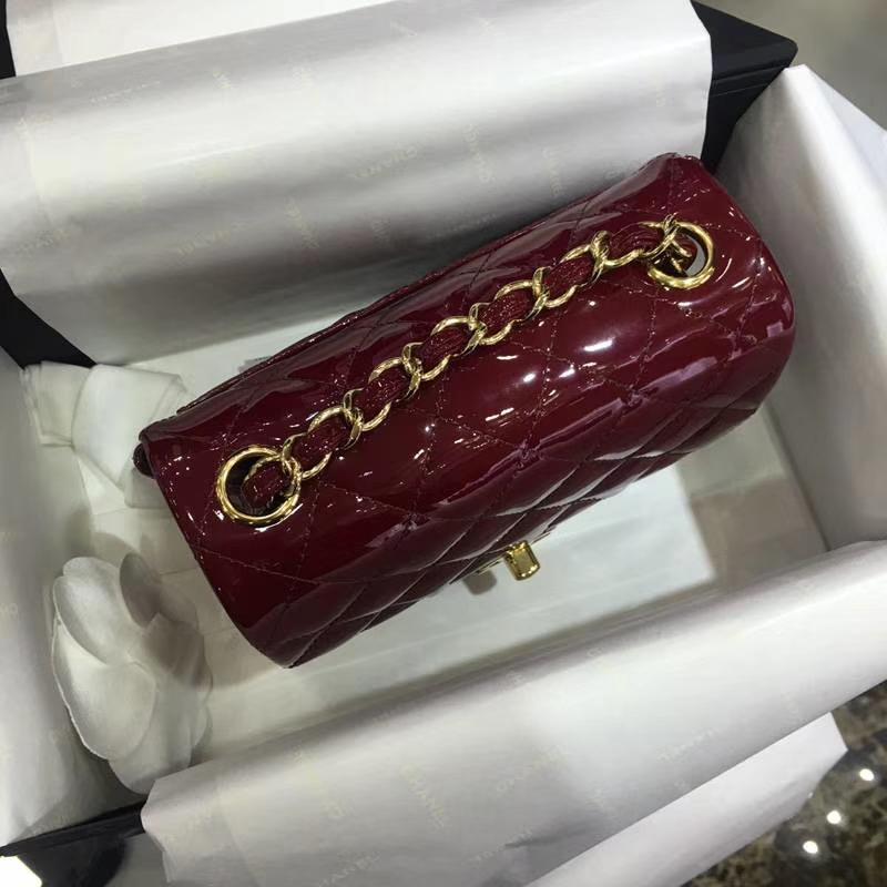 CFChanel 香奈儿  漆皮 酒红 17cm 金扣 现货