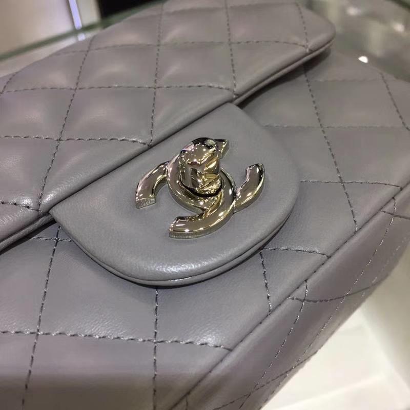 Chanel 香奈儿 CF 经典系列 羊皮 锡器灰 17cm 银扣 现货