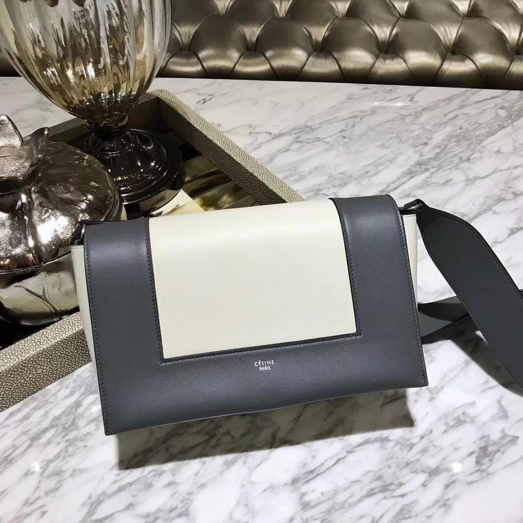 Celine 思琳 Frame 铁灰色拼白色 容量大 搭配皮肩带 一件代发 代购品质