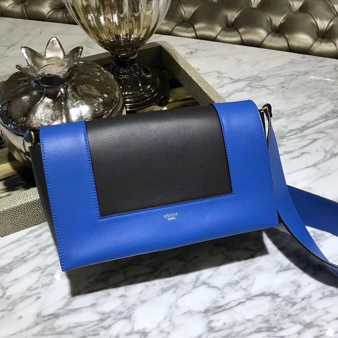Celine 思琳 Frame 电光蓝拼黑色 容量大 搭配皮肩带 一件代发 代购品质