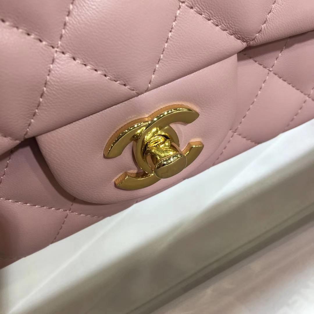 Chanel 香奈儿 CF经典系列 小羊皮 浅粉 20cm 金扣