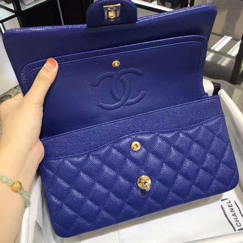Chanel 香奈儿 CF 经典系列 鱼子酱 电光蓝 25cm 金扣