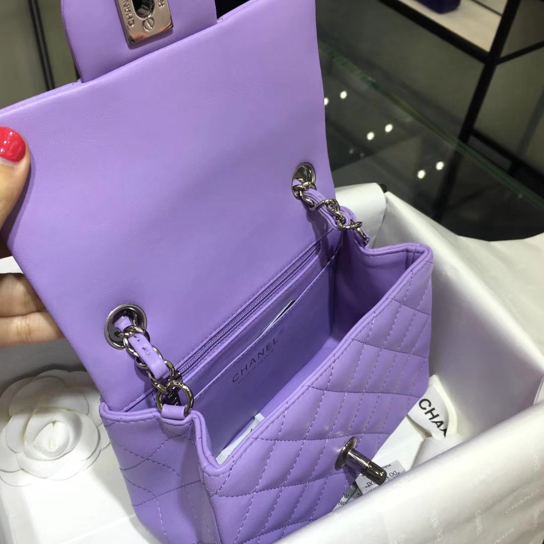 Chanel 香奈儿 Cf系列 17cm 原厂皮 小羊皮 薰衣草紫 银扣