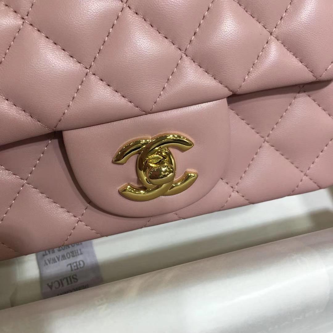 Chanel 香奈儿 Cf系列 17cm 原厂皮小羊皮 浅粉 金扣