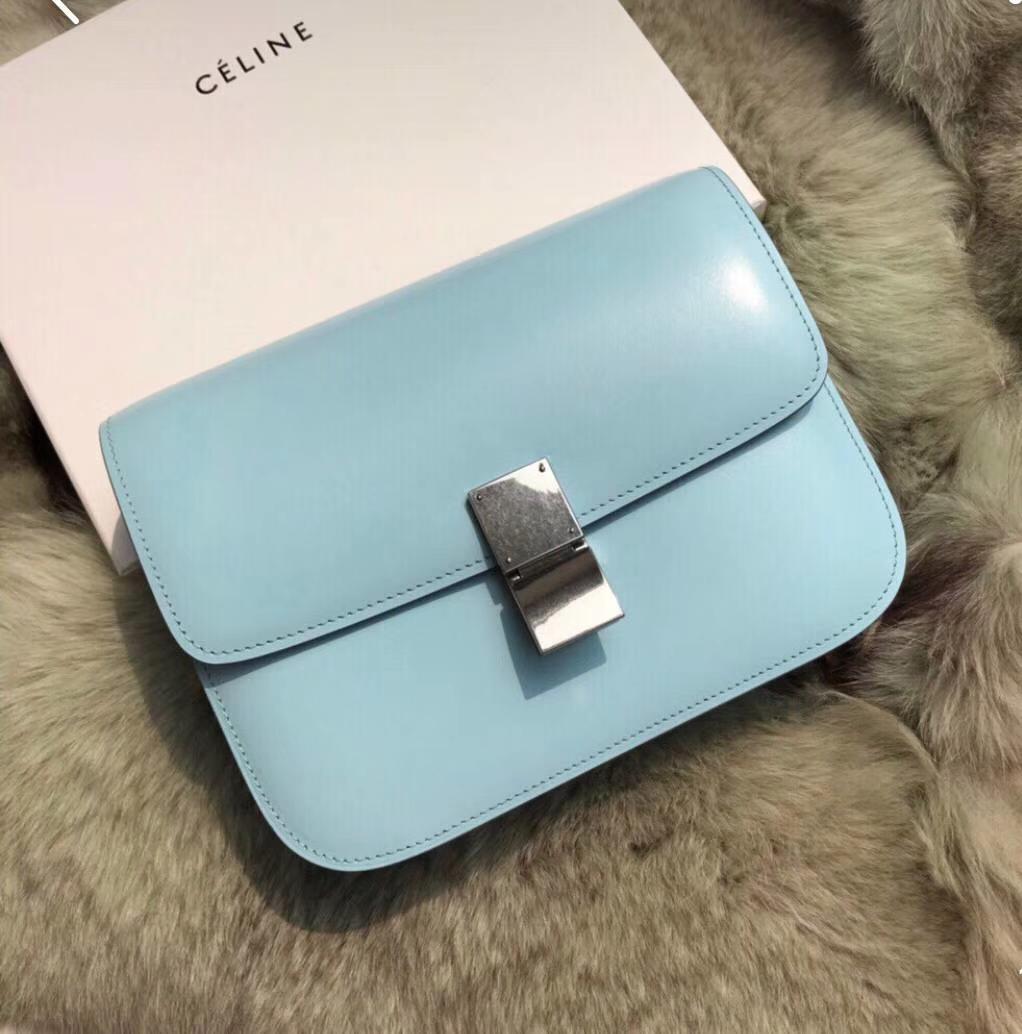 Celine 思琳box豆腐包云雾蓝中号24cm 原厂进口头层牛皮