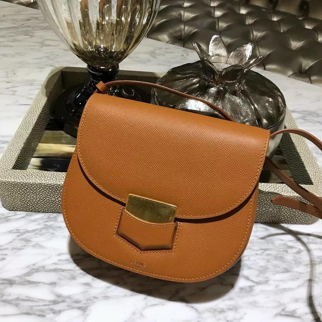 Celine 思琳 五角包 23cm 原厂进口牛皮 皮肩带 橙色
