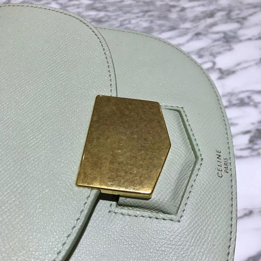 Celine 思琳 五角包 23cm 原厂进口牛皮 奶油绿 皮肩带