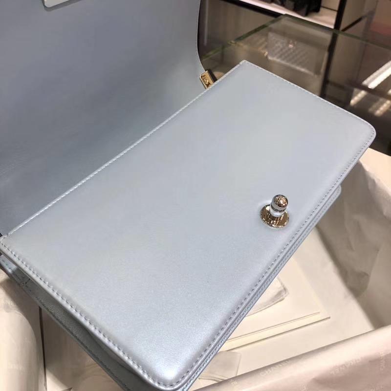 Leboy Bag 大V款  小羊皮 珠光蓝色 25cm 大理石纹琉璃扣  Dream Bag系列