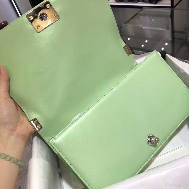 Leboy Bag 大V款 小羊皮 珠光绿色 25cm 大理石纹琉璃扣 Dream Bag系列