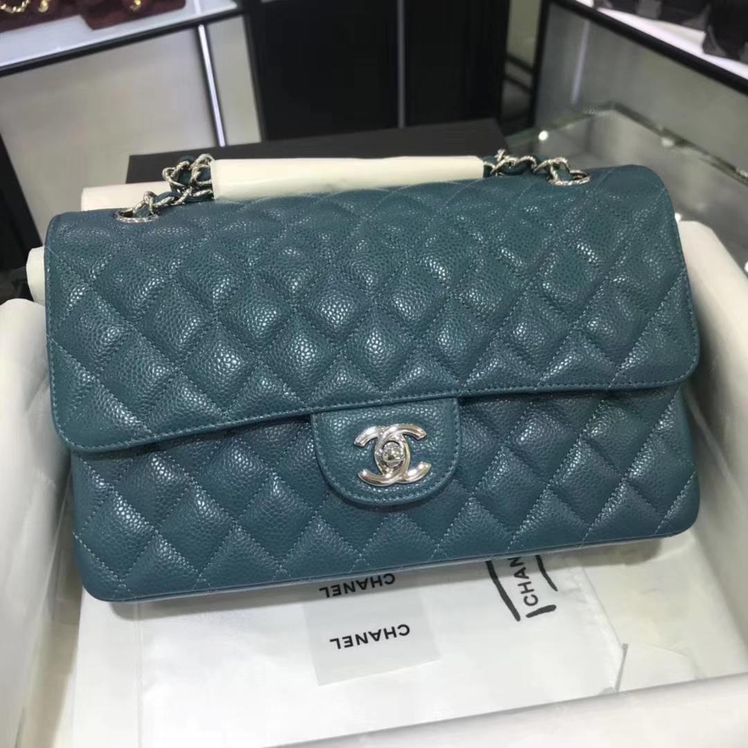 Chanel Classic Flap 25m 原厂皮鱼子酱 翡翠蓝 银扣