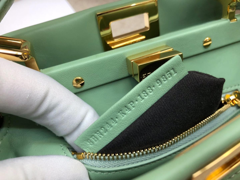 Fendi 芬迪 mini peekaboo  全钢五金 内外进口小羊皮 意大利riri原厂拉链 绿色 23cm