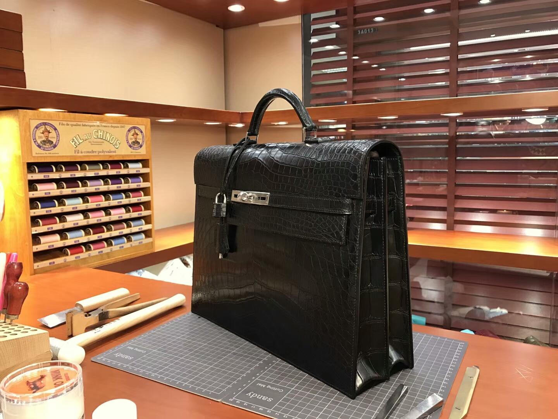 HERMES 爱马仕 男士公文包 亚光 黑色 现货系列 配全套专柜原版包装