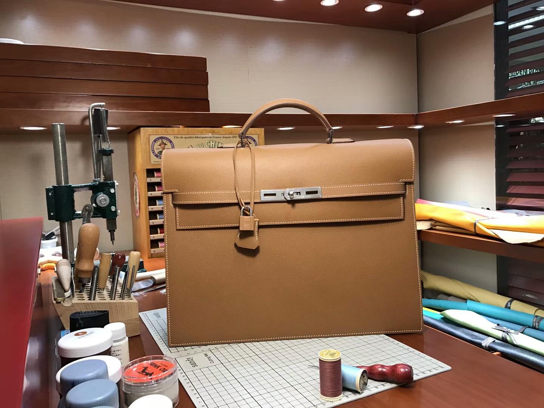HERMES 爱马仕 男士公文包 CK37 金棕色 Gold 现货系列 配全套专柜原版包装