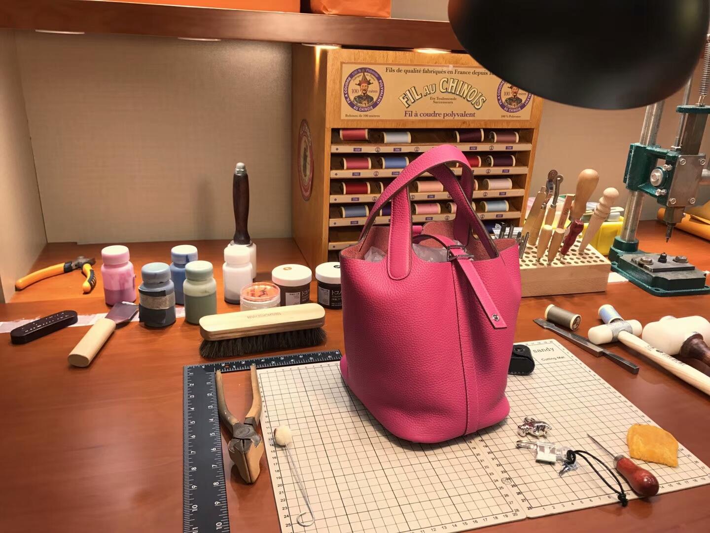 爱马仕 HERMES 菜篮子 Picotin 配全套专柜原版包装 全球发售 5rroseshocking艳桃红桃粉色玫红