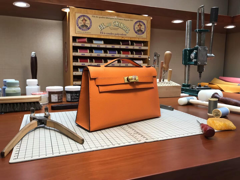 迷你凯莉 MiniKelly cc93 orange 橙色 橘色 金扣 全套专柜原版包装