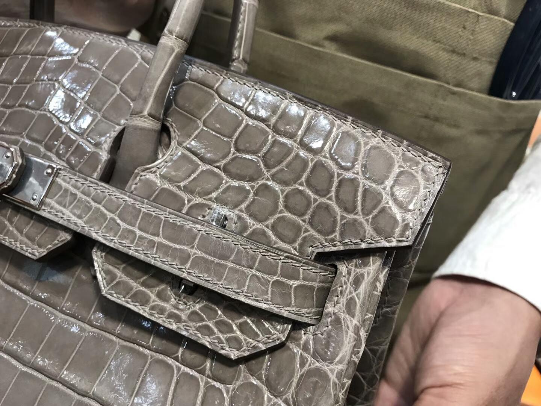 爱马仕 HERMES 铂金包 Birkin 25cm 配全套专柜原版包装 全球发售 鳄鱼  C81斑鸠灰
