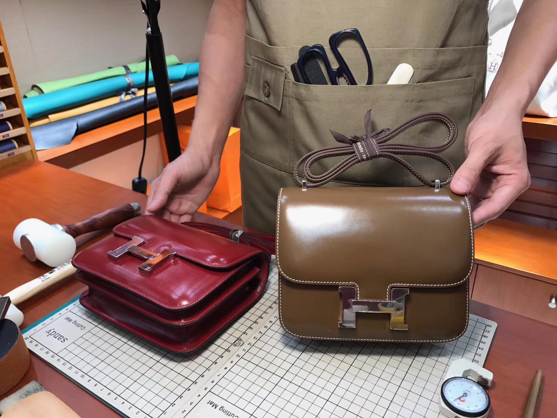 空姐包 Constance Box 3G栗子棕Alezan 配全套专柜原版包装 接受定制 HERMES 爱马仕 深卡其色