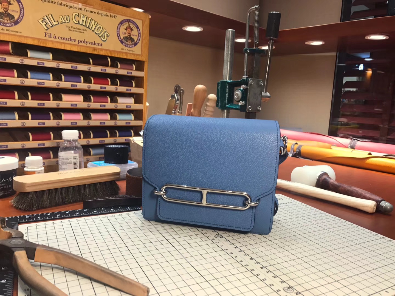 猪鼻子包 Roulis HERMES 爱马仕 R2 玛瑙蓝 Blue Agate Togo 配全套专柜原版包装