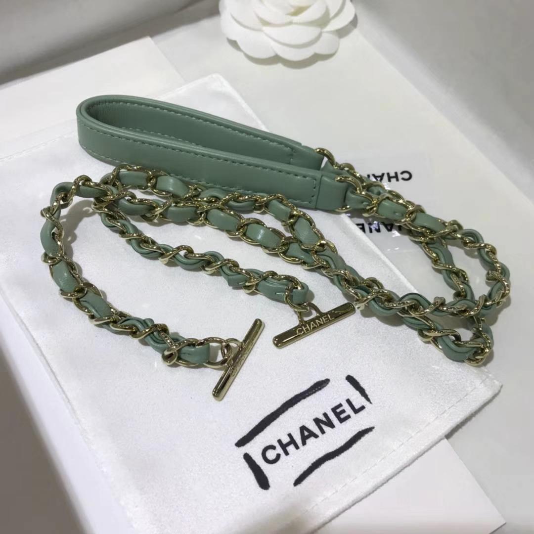 Chanel 香奈儿 TrendyCC大V 小羊皮 抹茶绿 25cm 香槟金 现货