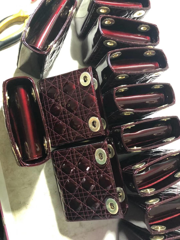 Dior 迪奥 戴妃包 Lady Dior 车厘子色 进口漆皮 专柜定制五金