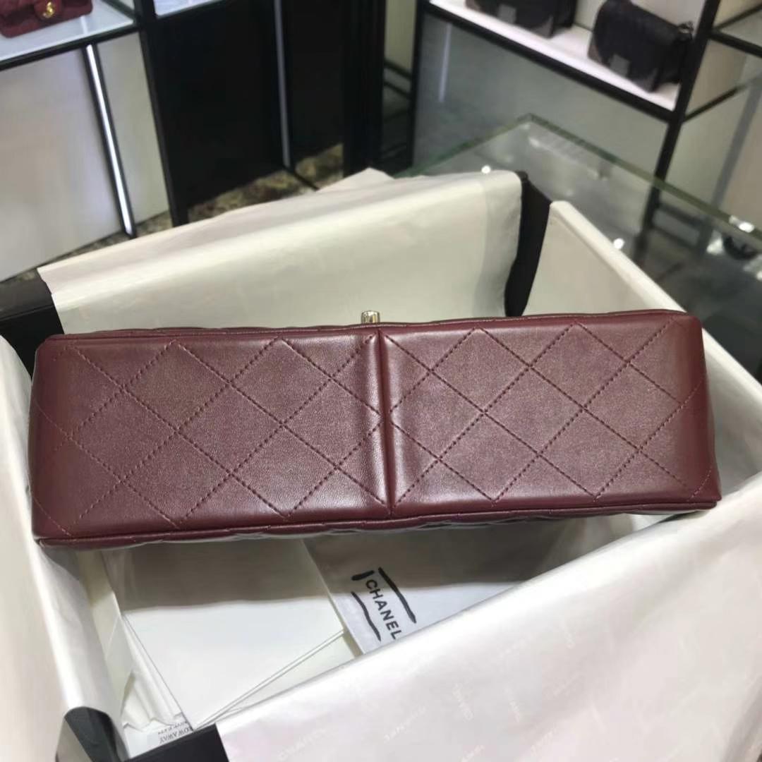 Chanel 香奈儿 Cf系列 30cm 原厂皮小羊皮 枣红色 银色五金
