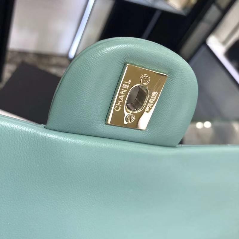 Chanel 香奈儿 CF 经典系列 羊皮 薄荷绿 25cm 香槟金扣