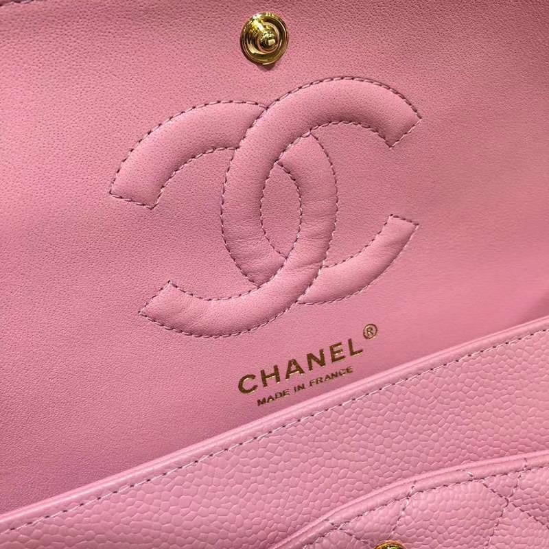 Chanel 香奈儿 CF 经典系列 鱼子酱 桃粉 25cm 金扣