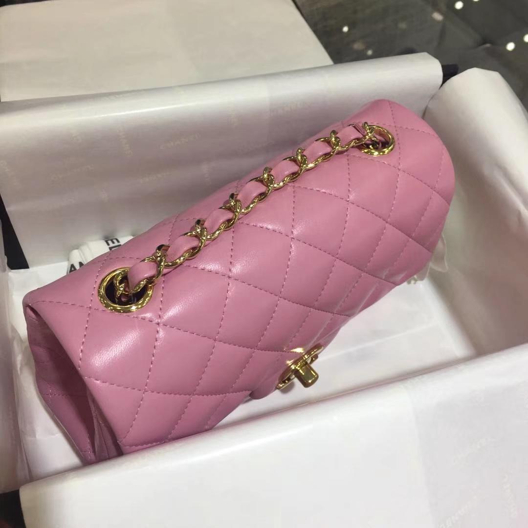 Chanel 香奈儿 CF经典系列 小羊皮 樱花粉 20cm 金扣