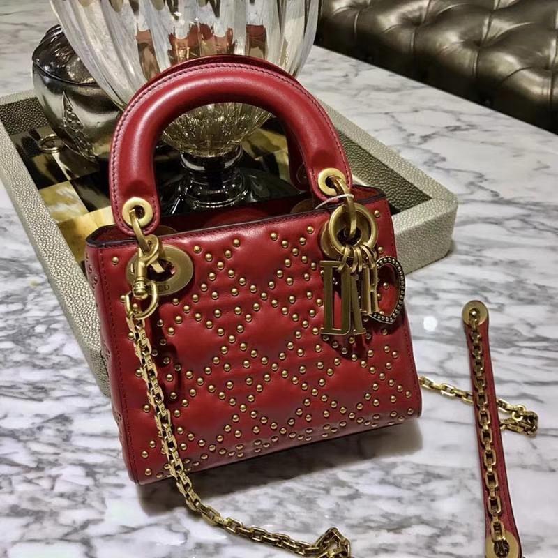 Dior 迪奥 牛皮 柳钉戴妃包 Lady Dior 三格17cm 最高品质