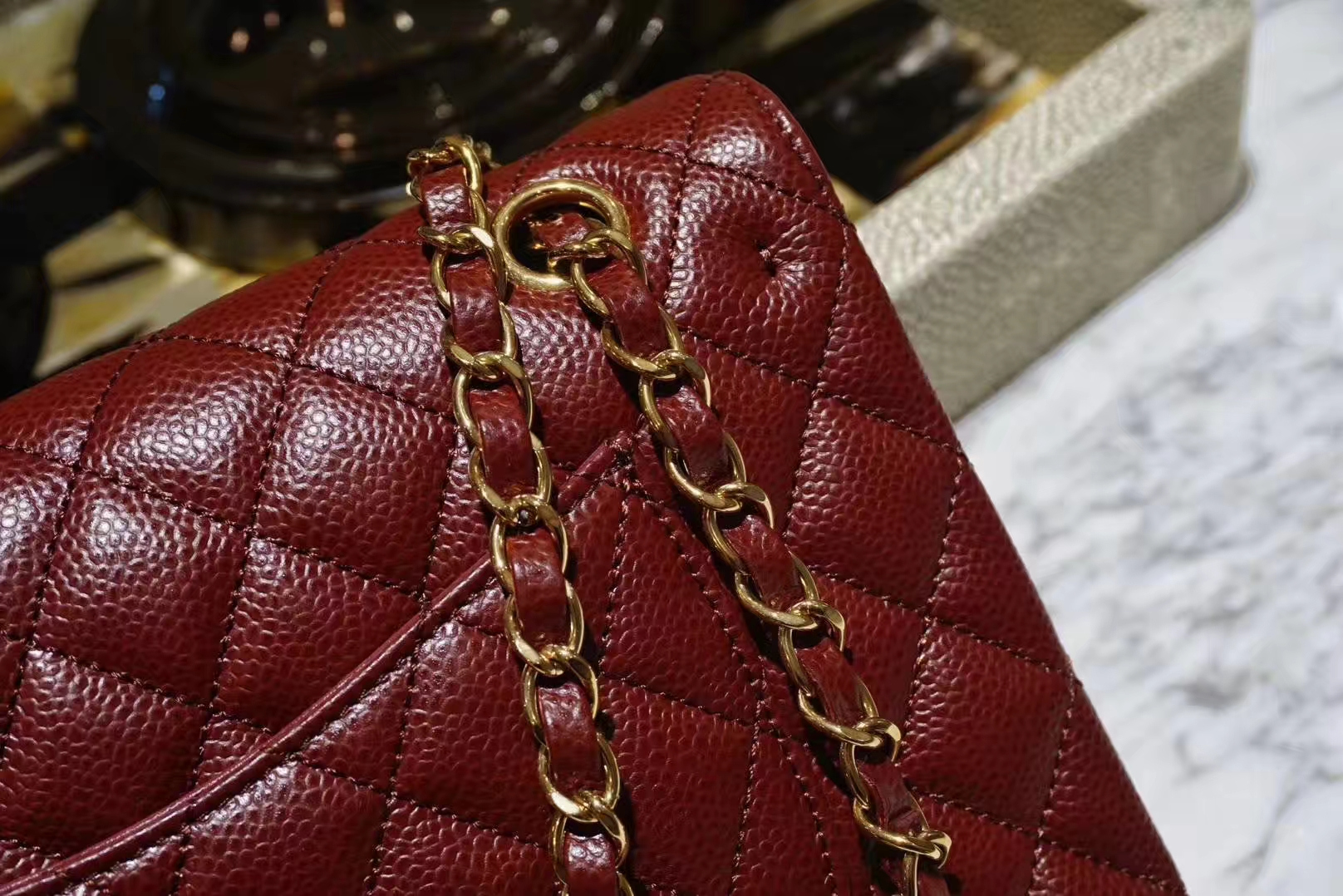 Chanel 香奈儿 Cf系列 25cm 原厂皮鱼子酱 枣红色 金色五金