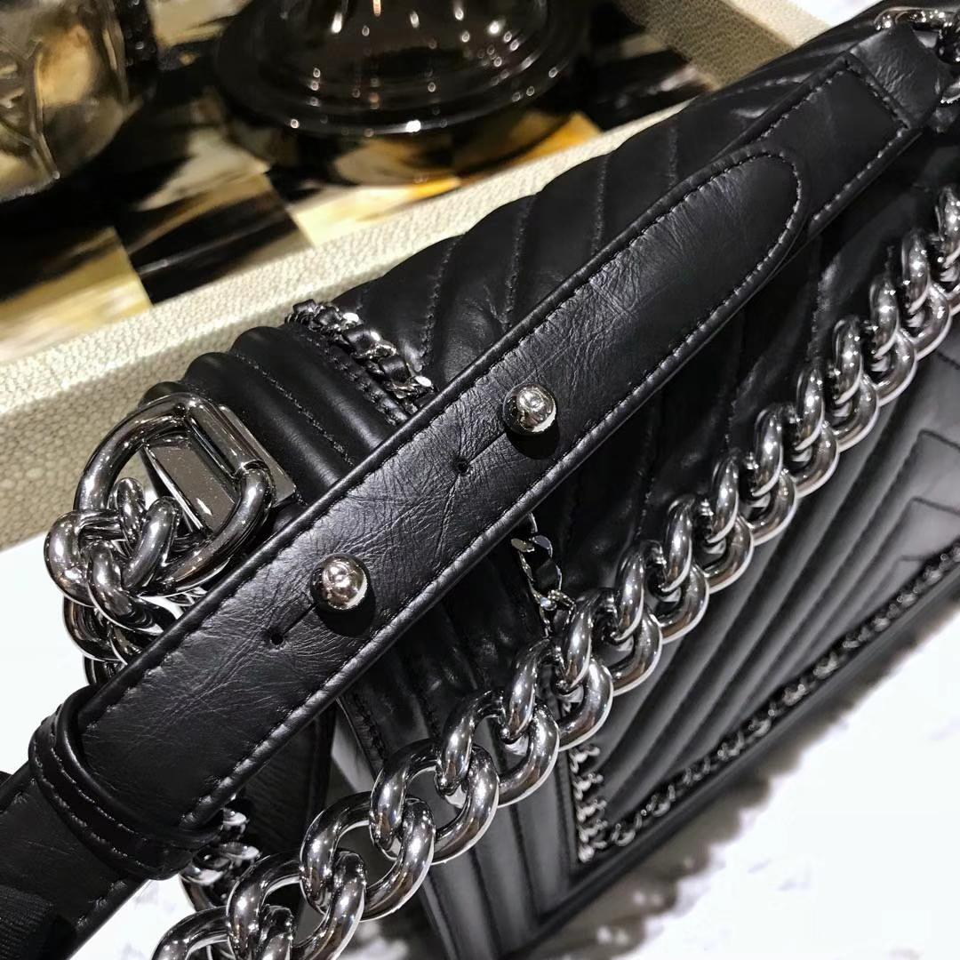 Chanel 香奈儿 Leboy系列 25cm 原厂小羊皮 珠光蓝色 大理石纹琉璃五金 V型