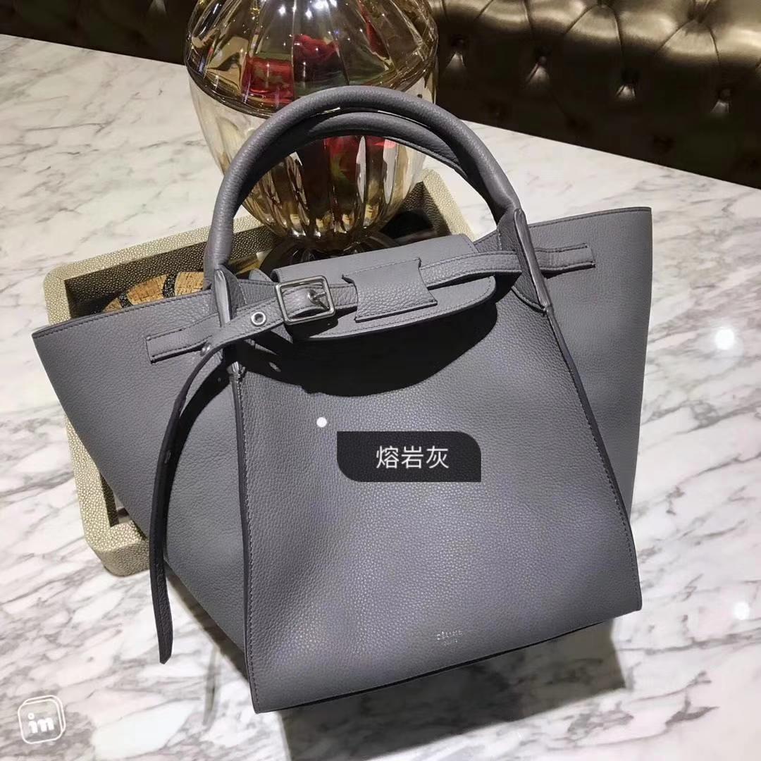 CÉLINE 购物袋 专柜同步发售 中号24cm 熔岩灰 进口荔枝纹牛皮