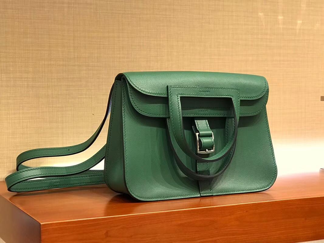 Hermes 爱马仕 Halzan swift 祖母绿 银扣 配全套专柜原版包装