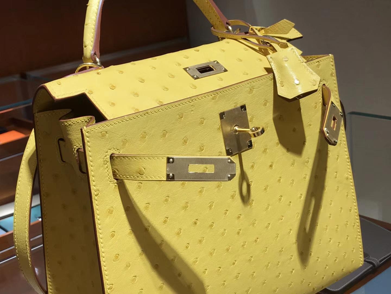 凯莉包 Kelly 25cm 28cm 鸵鸟皮 太阳黄 9V 金银扣都可以定制 配全套专柜原版包装