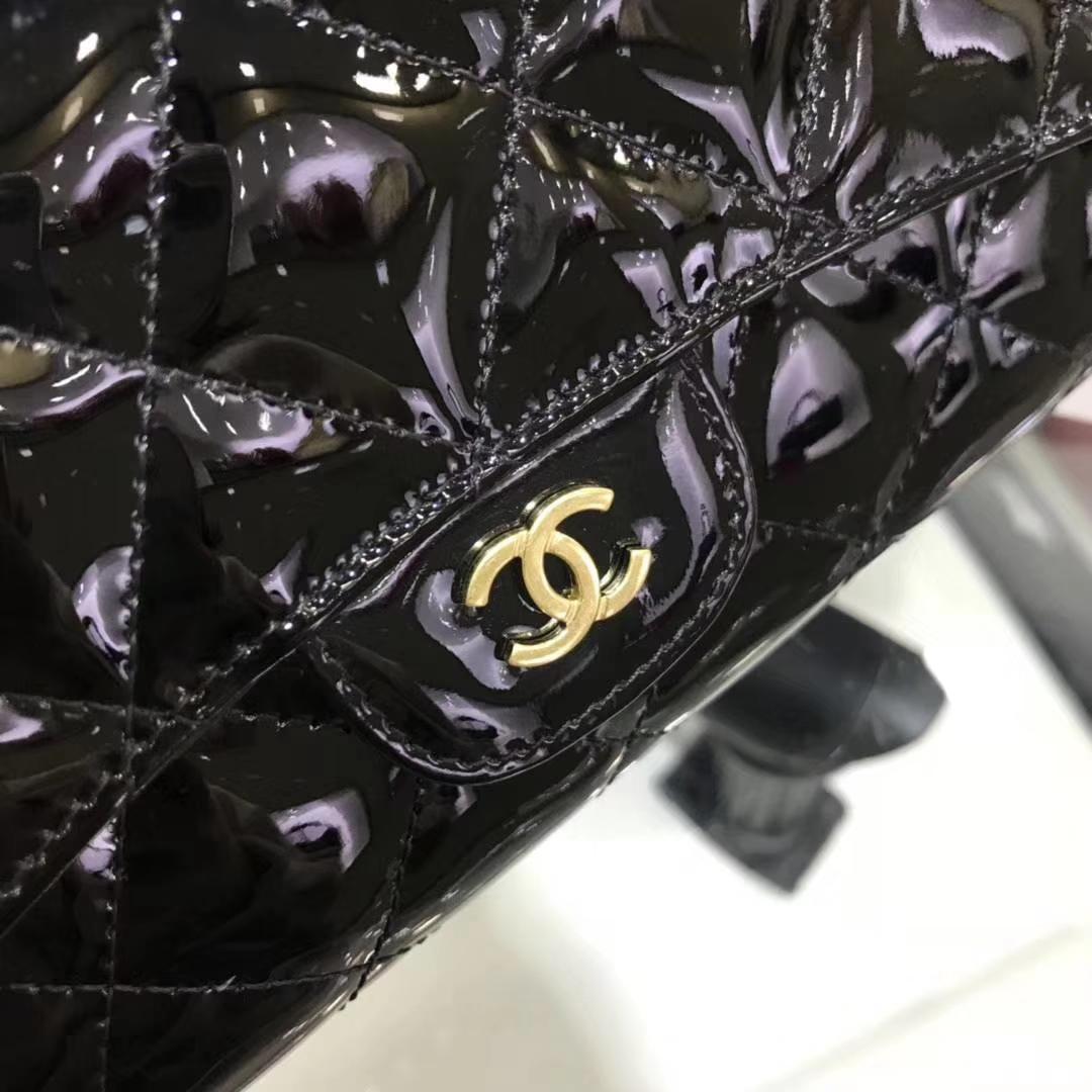 Chanel香奈儿 钱包 漆皮 黑色 长夹 手拿包 晚宴包