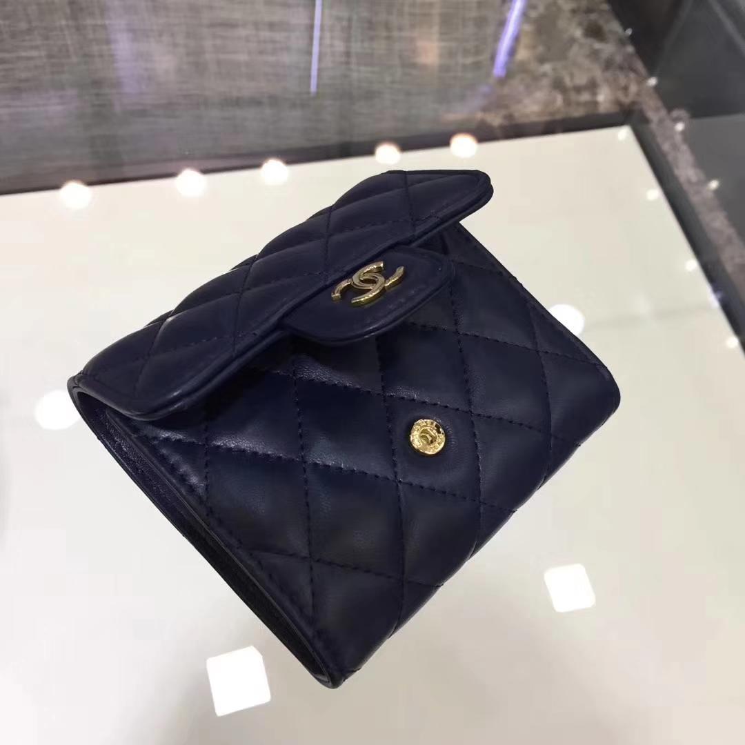 Chanel香奈儿 钱包 小羊皮 宝石蓝 金扣短夹