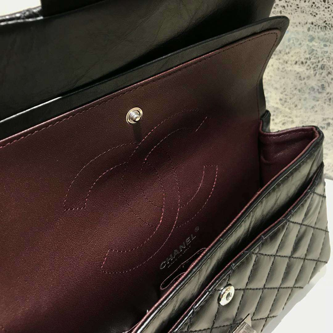 Chanel 香奈儿 复刻2.55 渠道代购版本 25cm 原厂皮 黑色 古银