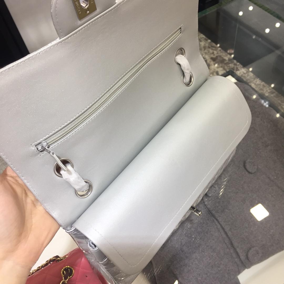 Chanel V字秀系列 代购版本 25cm 进口皱漆皮 银色 银扣 车边款