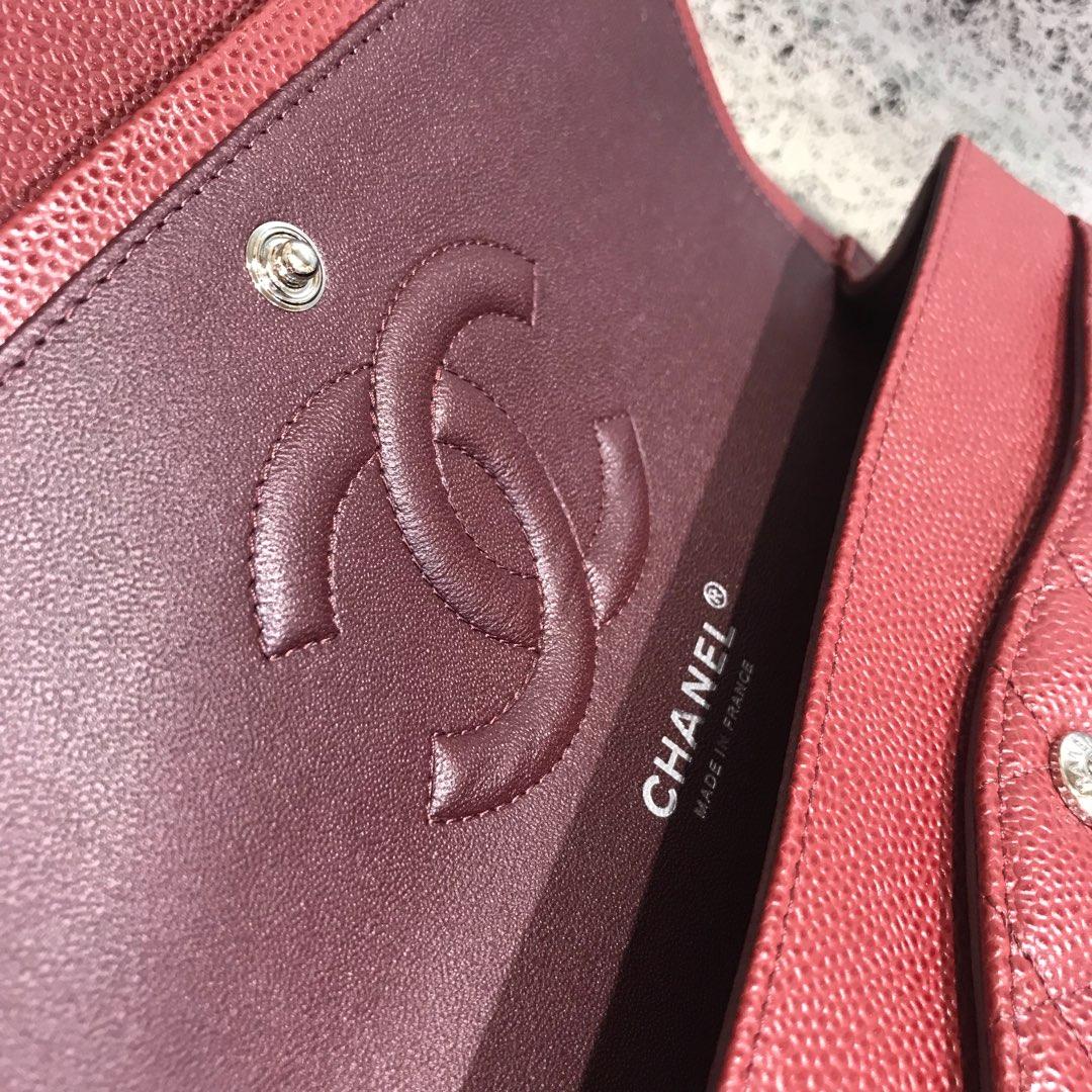 Chanel 香奈儿 Classic Flap 代购版本 25cm 进口鱼子酱 枣红色 银扣