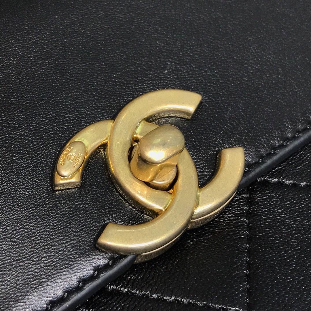 Chanel 香奈儿 口盖包 顶级代购版 23cm 原厂皮牛皮 黑色 纱金