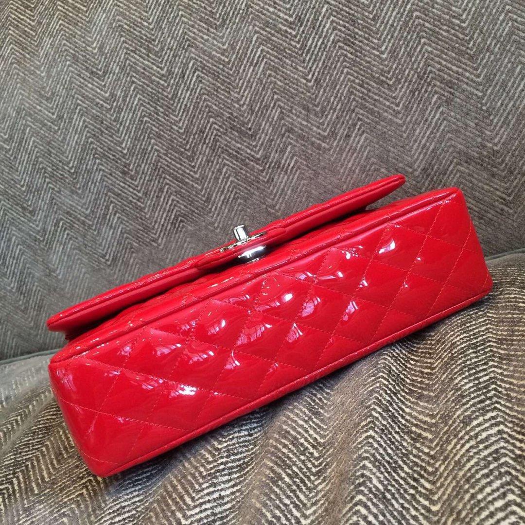 ClassicFlap 代购版本 25cm 进口漆皮 法拉利红 银扣 少量现货