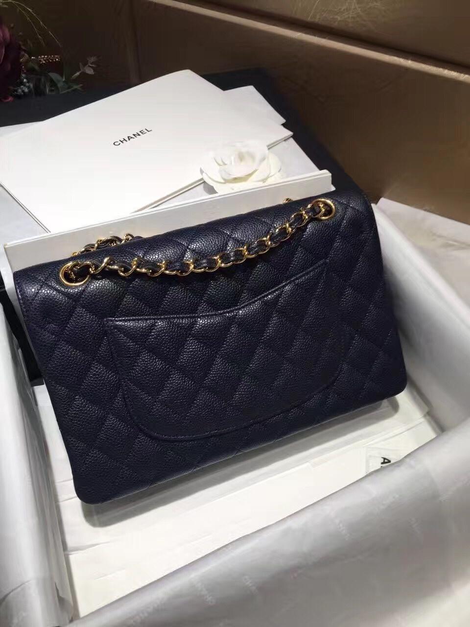 Chanel 香奈儿 Classic Flap 代购版本 25cm 进口鱼籽酱 海军蓝 金扣